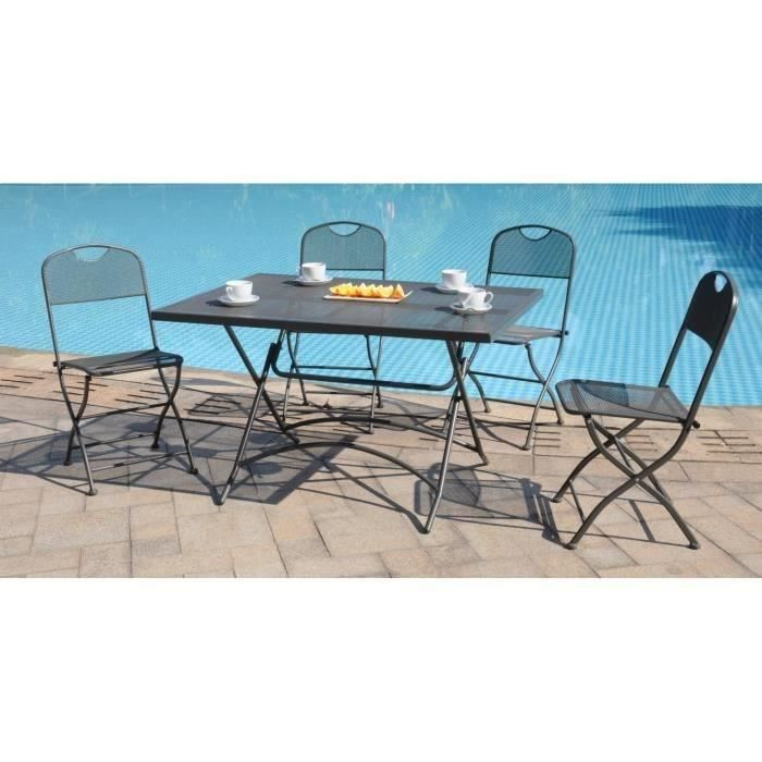 Finlandek ensemble repas tress 4 places gris hieno for Ensemble de jardin tresse