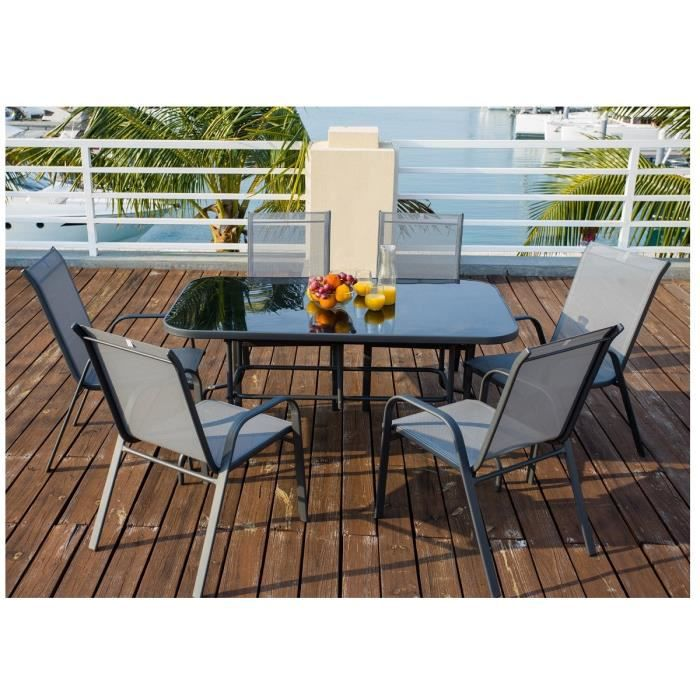 island ensemble de table de jardin 6 places en acier gris achat vente salon de jardin. Black Bedroom Furniture Sets. Home Design Ideas