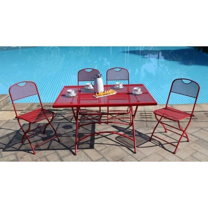 finlandek ensemble table de jardin 120 4 chaises rouge hieno achat vente salon de jardin. Black Bedroom Furniture Sets. Home Design Ideas