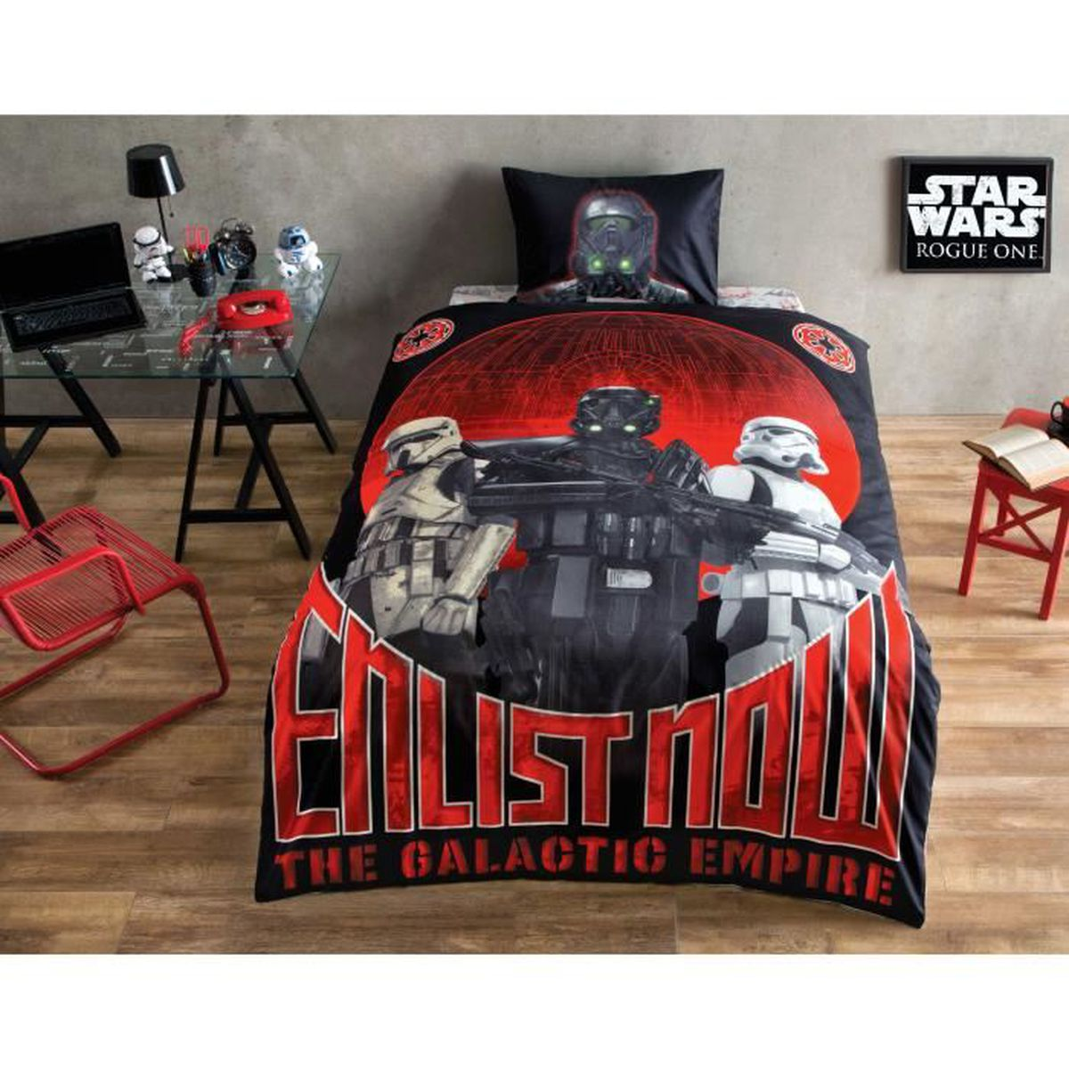 star wars glow imprim e 100 coton 1 personne parure de couette 3 pcs housse de couette 160x220. Black Bedroom Furniture Sets. Home Design Ideas