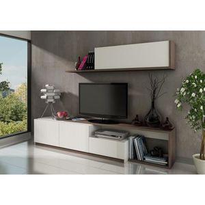 ENSEMBLE MEUBLES DE SALON OTAWA Séjour TV 240cm Blanc et chêne foncé