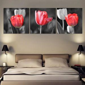 Art contemporain Art contemporain Peinture 3 panneaux Rouge et gris Tulipes  Peinture Décoration intérieure 30x30cmx3p(Unframed)
