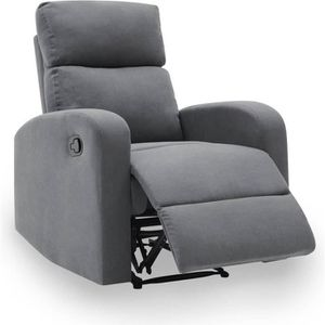 FAUTEUIL Fauteuil relax en tissu gris MORITZ