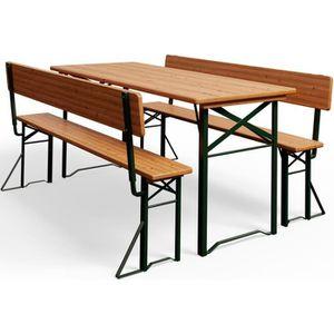 Ensemble table et chaise de jardin Table pliable et 2x bancs avec dossier Salon jardi