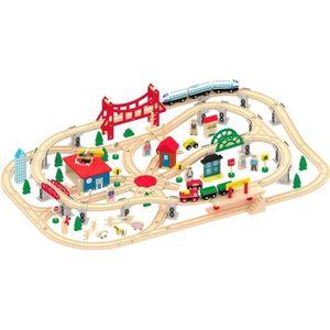CIRCUIT Train en bois - 130 pièces