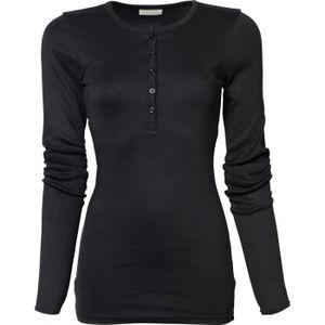 T-SHIRT T-shirt henley tunisien FEMME - 680 - noir - manch