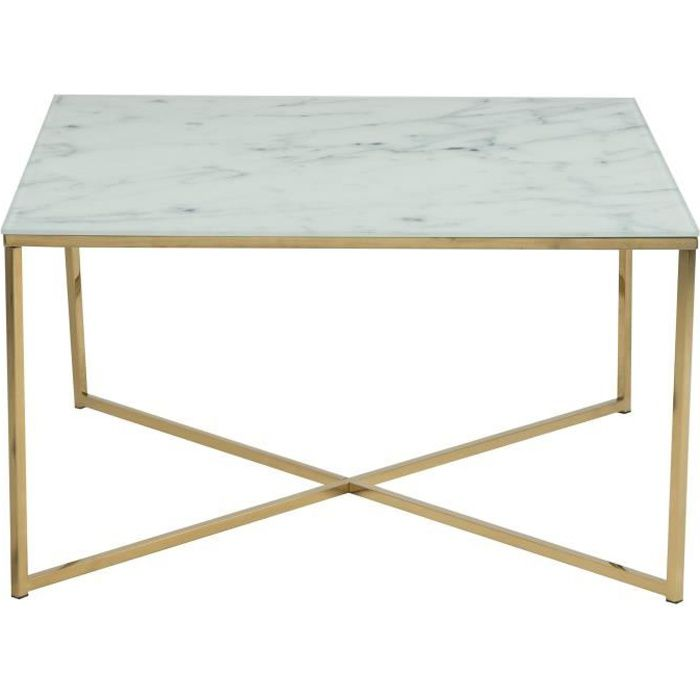 Alisma Table Basse Carrée Contemporain En Chrome Doré Plateau En