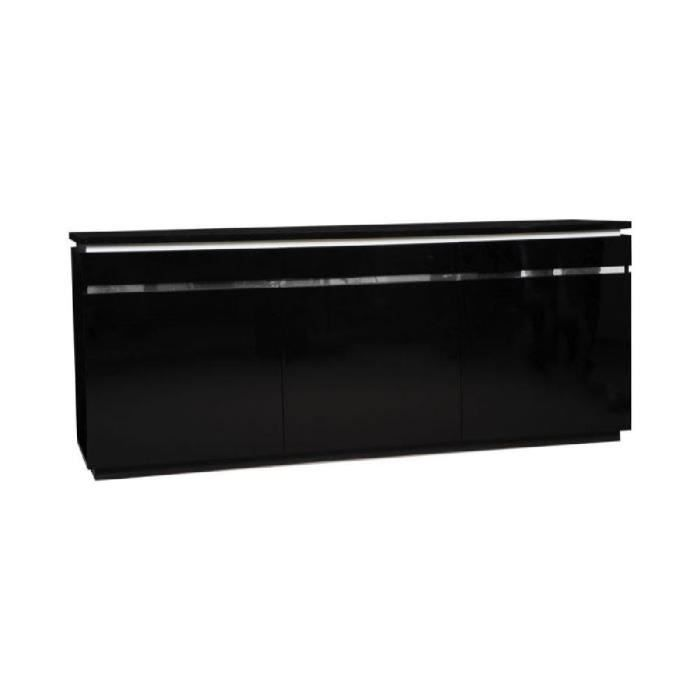 buzz buffet 200cm avec clairage laqu noir achat. Black Bedroom Furniture Sets. Home Design Ideas