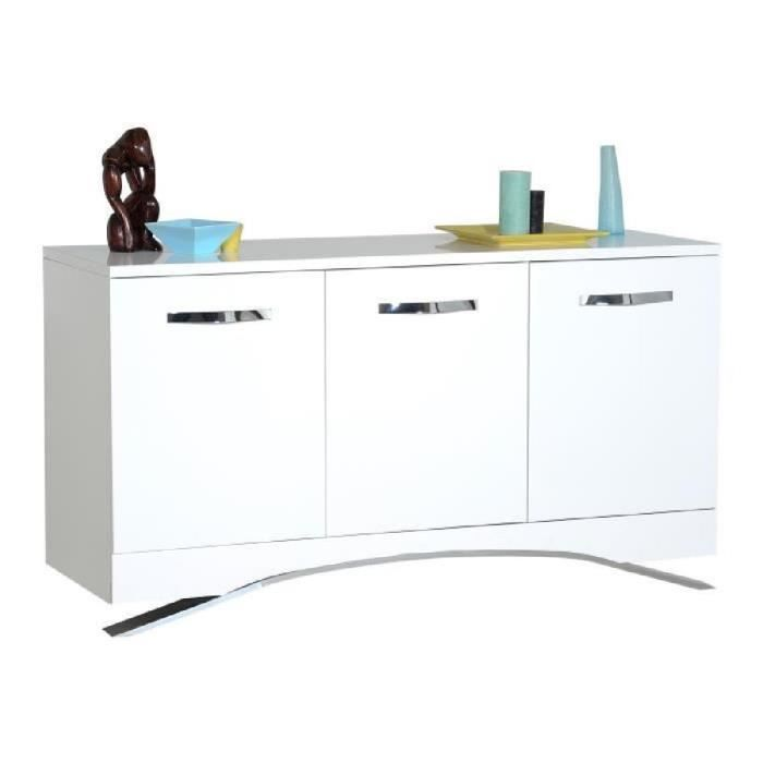 smooth bahut 150 cm laqu blanc brillant achat vente buffet bahut smooth bahut 3 portes. Black Bedroom Furniture Sets. Home Design Ideas