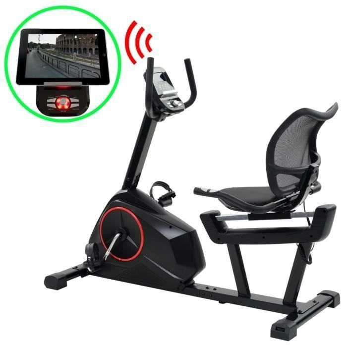 vidaXL Vélo d'appartement couché programmable Masse rotative 10 kg