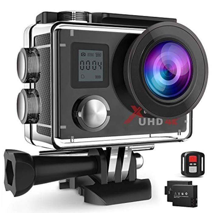 Caméra Sports - Campark ACT76 - 4K - Ultra HD - WiFi - Étanche - Grand-Angle - 2 Batteries - Kit d'accessoires