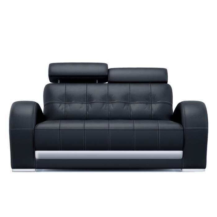 Canapé 2 places noir design en cuir