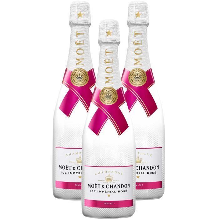 3X Moët et Chandon Ice Impérial Demi-Sec Rosé 75cl - Champagne