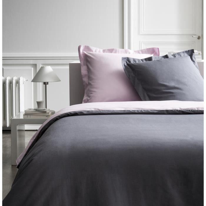 Parure de lit 220X240 2 personnes Percale bicolore rose PREMIUM