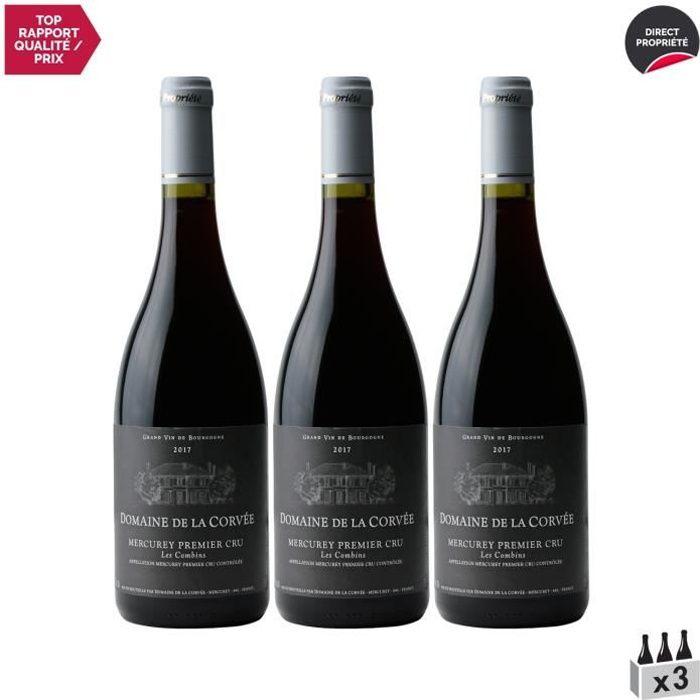 Mercurey 1er cru Les Combins Rouge 2017 - Lot de 3x75cl - Domaine de la Corvée - Vin AOC Rouge de Bourgogne - Cépage Pinot Noir