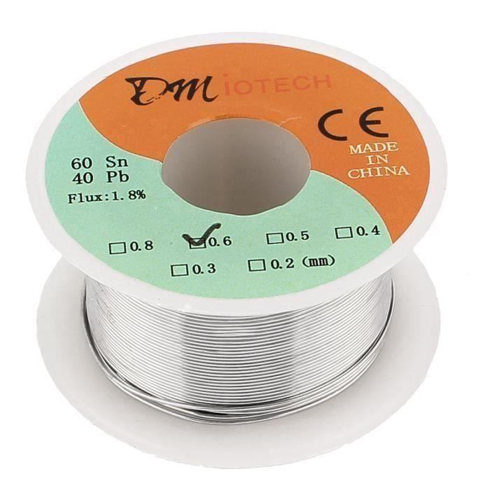 CABLE - FIL - GAINE sourcingmap® 0.6mm 35G 60-40 Colophane Noyau étain Câble Rouleau Soudure Fil De Soudure Bout0109-18D-18431
