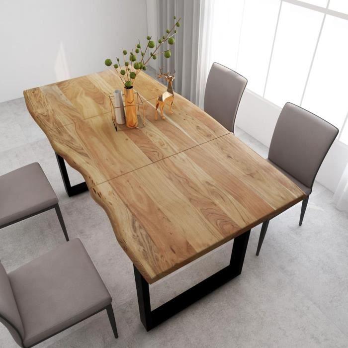 Table de salle à manger de 6 à 8 personnes - Style Industriel et Rustique - Bois d'acacia massif & Pieds en Acier - 180x90x76 cm