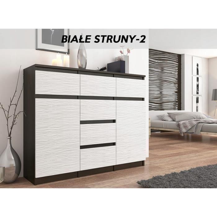 MONACO 2W - Commode contemporaine meuble rangement chambre/salon - 120x40x98 - 6 tiroirs 2 portes - Buffet Design tendance -