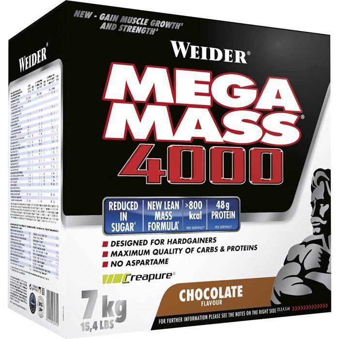 mega mass 4000, chocolat milkshake gainer avec de la créatine et de la protéine, bodybuilding-fitness 85