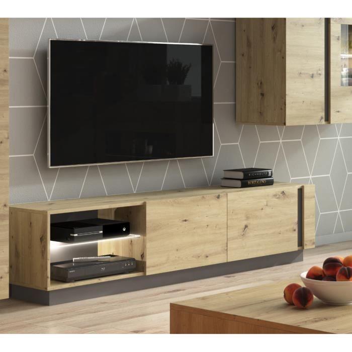 Meuble TV modern ARCO -chêne mat SANS LED - L187 cm - Chêne-Anthracite - Banc TV - Meuble de salon