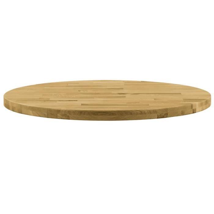 Le meilleur* -705488- Plateau Pour Table - Dessus de table Bois de chêne massif Rond 44 mm 400 mm Plateau Pour Table