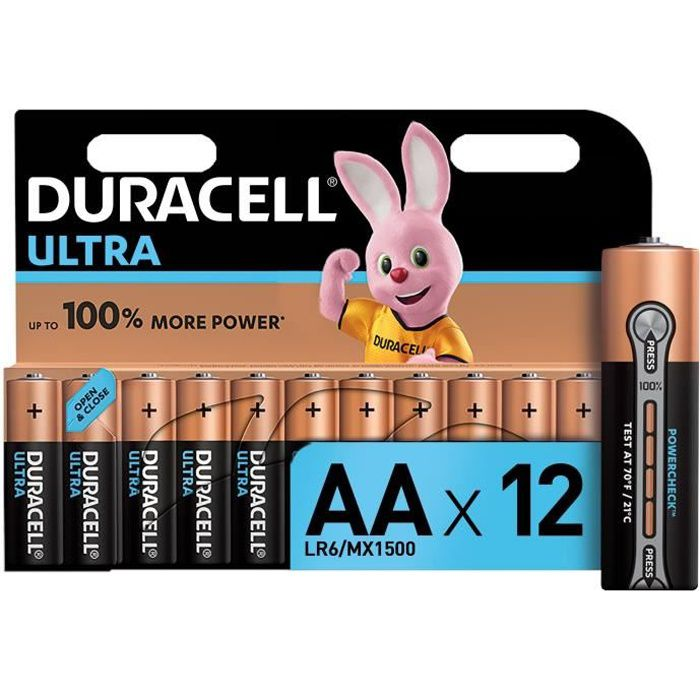 Duracell: 12 piles Alcalines ULTRA type AA/ LR06