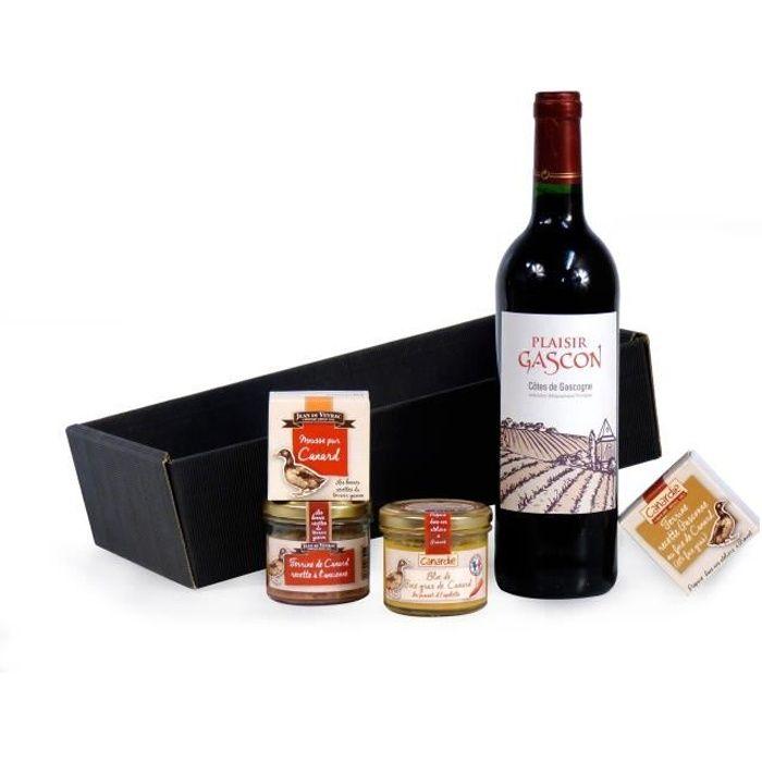 Coffret -En rouge et noir- contient 5 produits dont un bloc de foie gras de Canard
