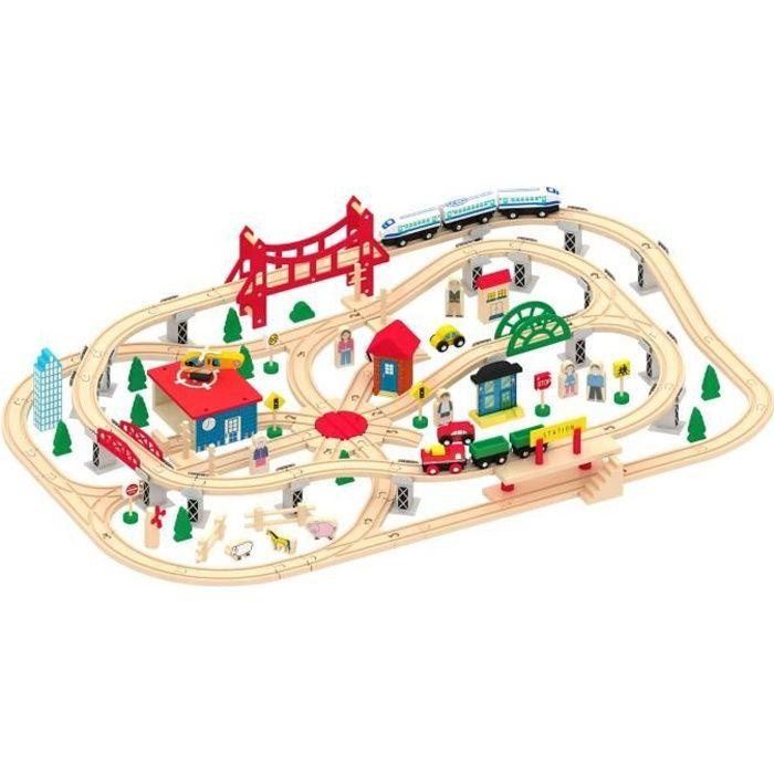 Train en bois - 130 pièces