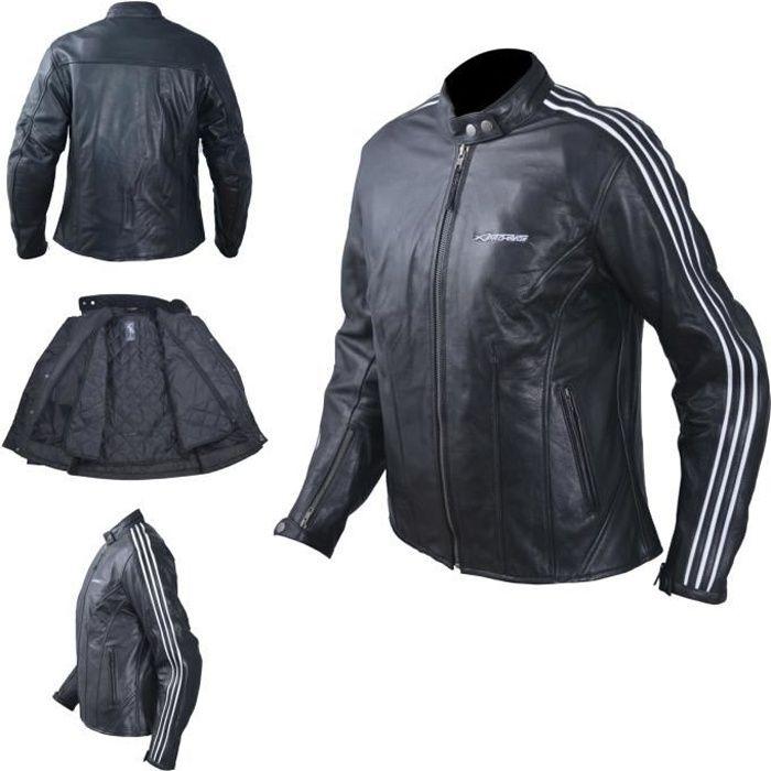 Blouson Cuir Femme Moto Protections CE Veste Vintage Thermique 2XL Blanc