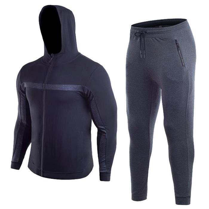 Mens Fitness manches longues culturisme Fermeture éclair serré séchage Top Pantalon Survêtement Noir