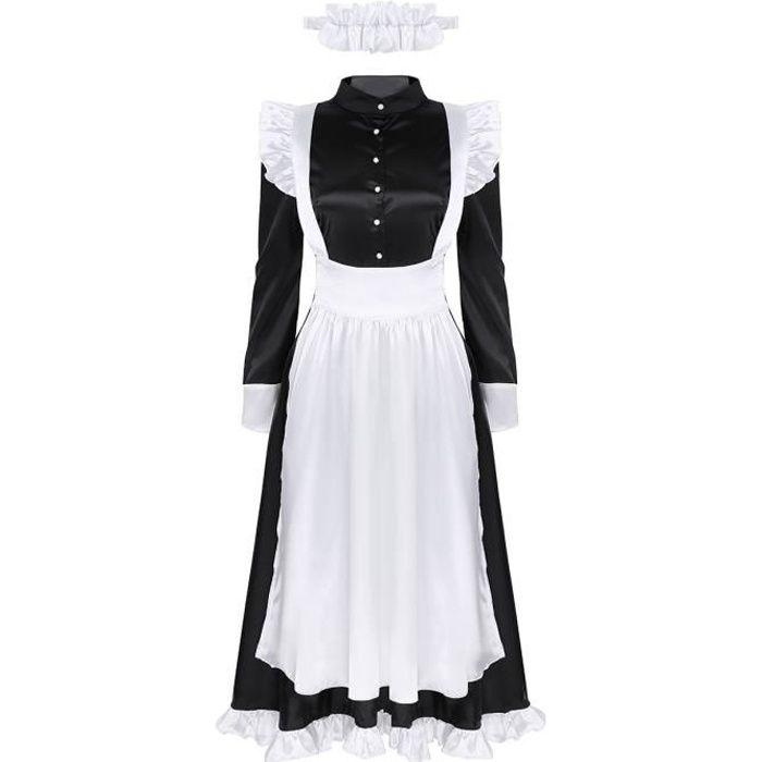 3 Pcs Déguisement Serveuse Femme Maid Adulte Costume Soubrette Robe Longue+Tablier + Couvre-Chef Vintage Halloween Carnaval S-XXL