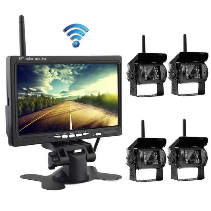 Podofo Système Caméra de Sauvegarde Sans Fil 7 Pouce Moniteur 4 Caméra Arrière Vision Nocturne IR Étanche pour Véhicule Agricole RV