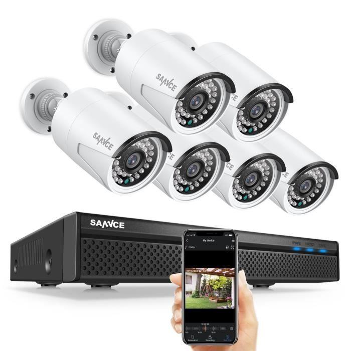 SANNCE Système de surveillance vidéo Poe réseau 8CH 1080P FHD avec NVR de surveillance H.264+ 5MP avec compression vidéo H.264+