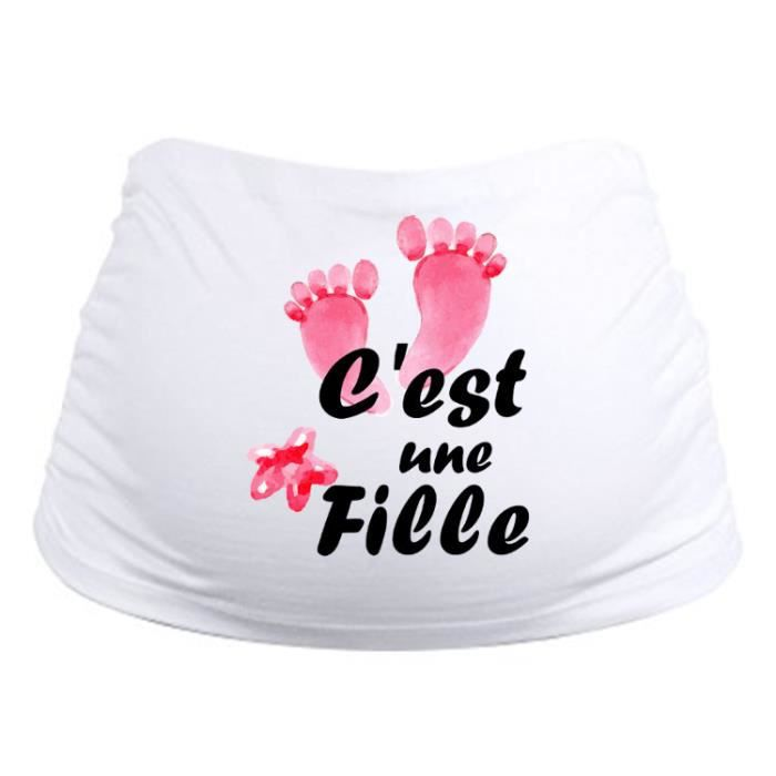 Bandeau de grossesse personnalisable, ceinture de grossesse c'est une fille ! idée cadeau annonce !