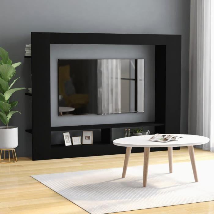 Meuble TV Noir 152x22x113 cm Aggloméré-HUA