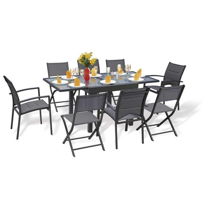Salon de jardin modulo 8 places gris achat vente salon for Table carree 8 places