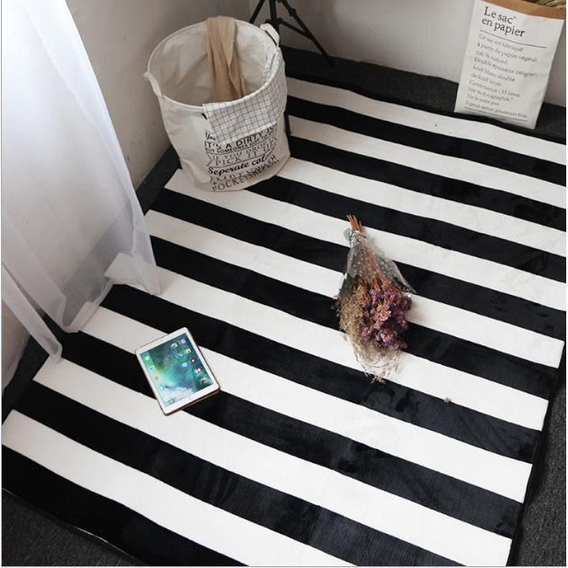 Tapis rayé noir et blanc Tapis de salon pour entrée,chambre à  coucher,cabinet de travail,Près de la fenêtre