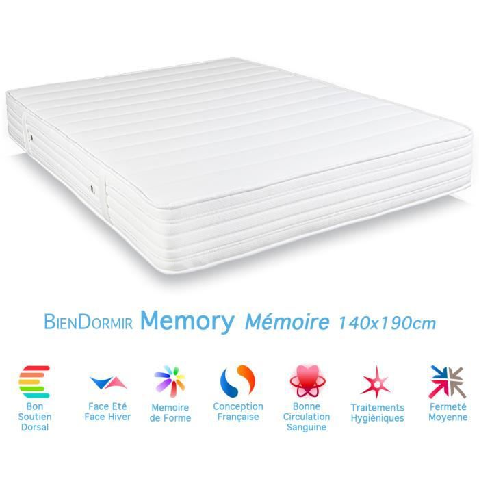 matelas 100 memoire de forme memory 140x190cm achat vente matelas cdiscount. Black Bedroom Furniture Sets. Home Design Ideas