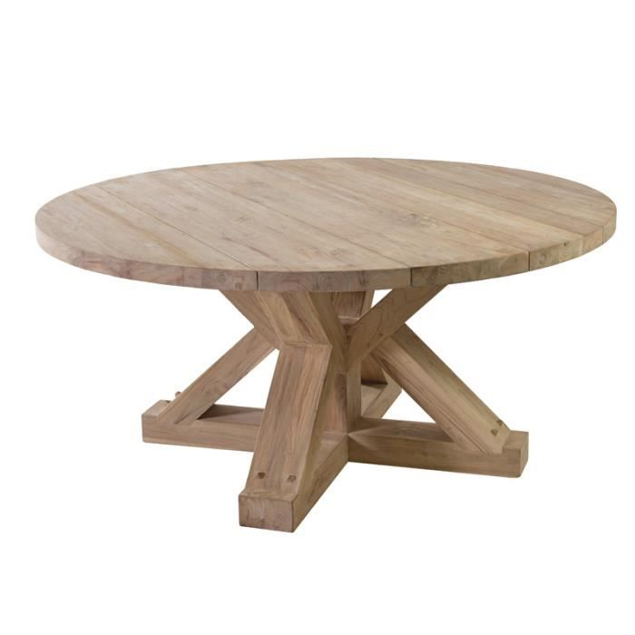 Table ronde teck Jim O 160 cm - Achat / Vente table de jardin Table ...