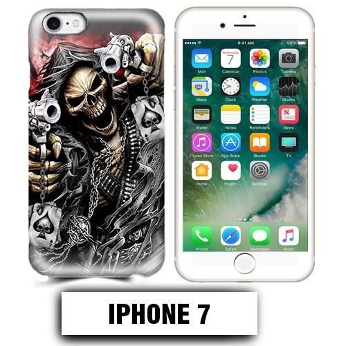 coque iphone 7 tete de mort pistolet