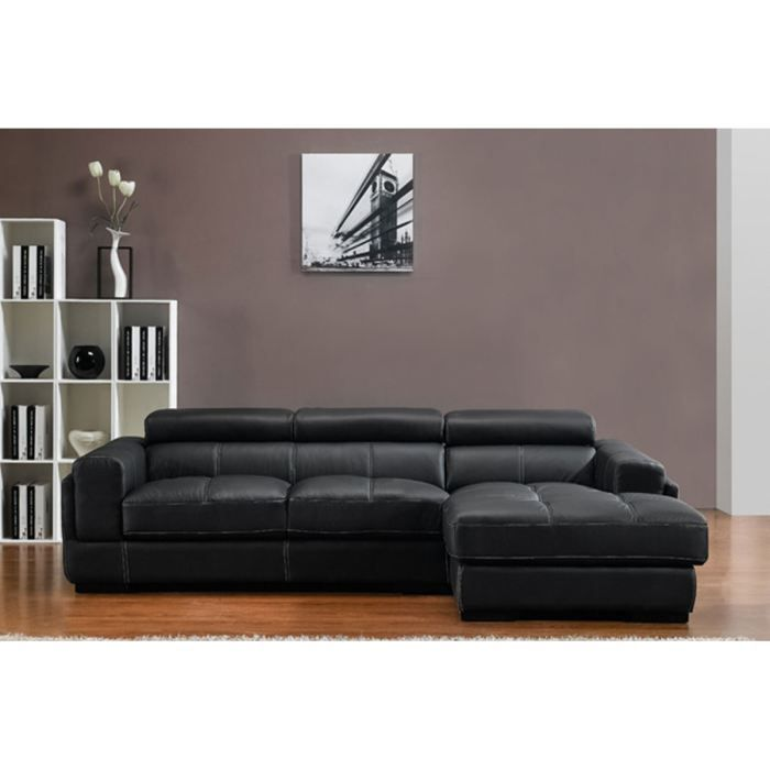 canap d 39 angle droit 4 places cuir noir manera achat. Black Bedroom Furniture Sets. Home Design Ideas