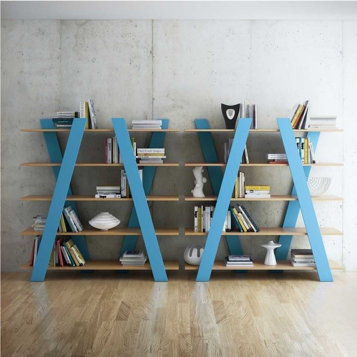 Tag re biblioth que design wind bleue achat vente biblioth que tag re b - Etageres bibliotheques design ...