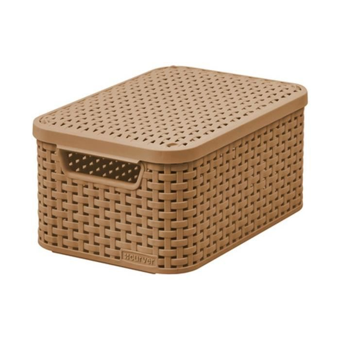 curver style rattan plastique panier de rangement avec un. Black Bedroom Furniture Sets. Home Design Ideas