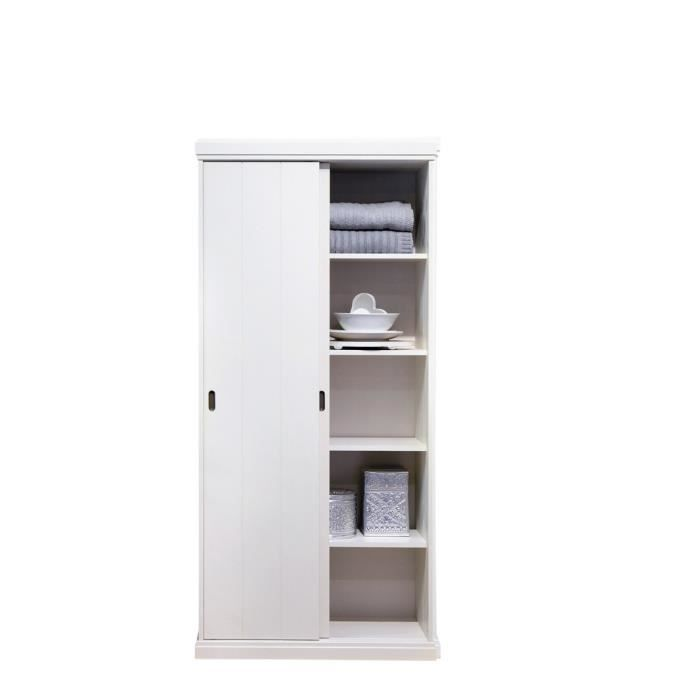 armoire 2 portes coulissantes pin blanc gerolt achat. Black Bedroom Furniture Sets. Home Design Ideas