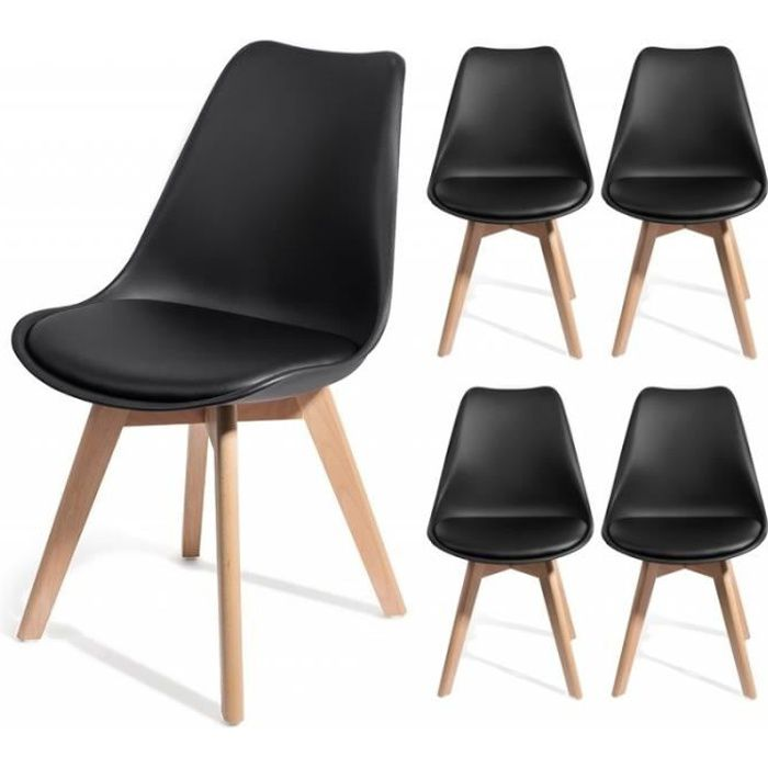 brekka noir lot de 4 chaises design contemporain nordique scandinave super qualit - Chaise Contemporaine Design