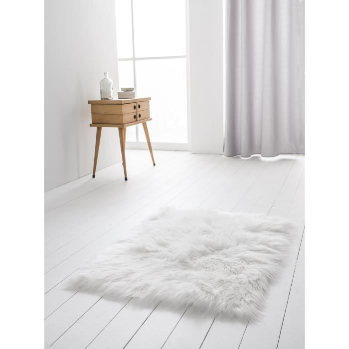 today tapis imitation peau de b te 60x120 cm blanc achat. Black Bedroom Furniture Sets. Home Design Ideas