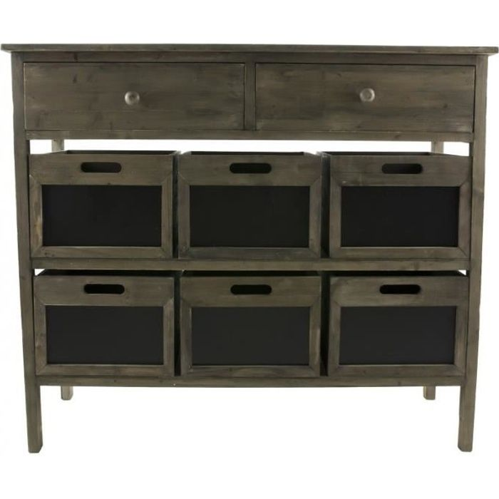 console de rangement meuble de drapier ou table de brocante en bois 6 casiers ardoise. Black Bedroom Furniture Sets. Home Design Ideas