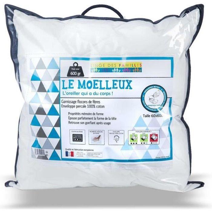 65x65 cm Oreiller Percale Confort Gonflant et Moelleux Anti Acariens |Qualit/é Hotellerie de Luxe Sweetnight 100/% Coton