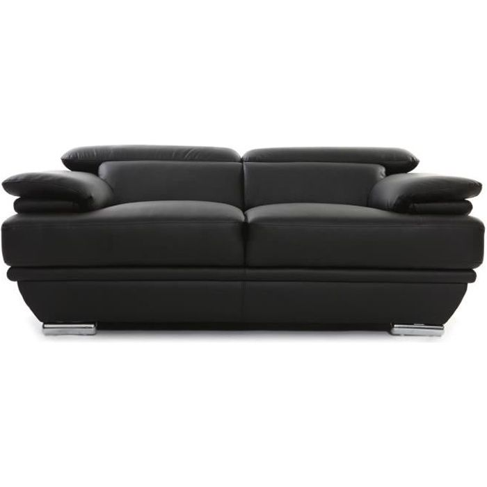 miliboo canap cuir design deux places avec t achat vente canap sofa divan cdiscount. Black Bedroom Furniture Sets. Home Design Ideas