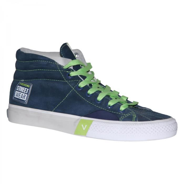 samples shoes VISION STREET WEAR SUEDE HI NAVY GREEN LIME WO